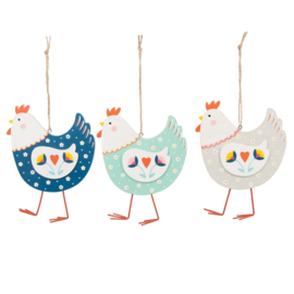 Sass & Belle Folksy Hen Hanging Decoration Assorted