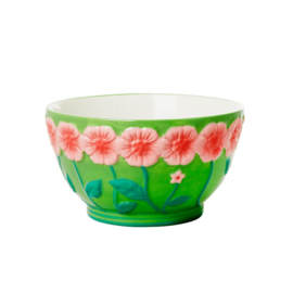 Rice Ceramic Bowl with Embossed Flower Design - Green