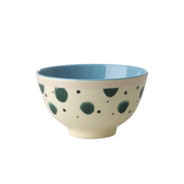 Rice Melamine Bowl with Watercolor Splash Print - Two Tone - Small