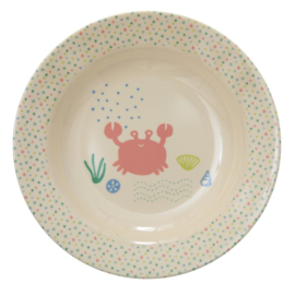 Rice Kids Melamine Bowl with Ocean Life Print