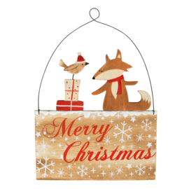 Sass & Belle Christmas Decoration Merry Christmas Fox, Robin and Presents Plaque