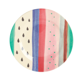 Rice Melamine Side Plate with Louise's Stripe Print -bord met rand-