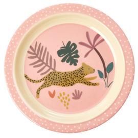 Rice Melamine Kids Dinner Plate with Pink Jungle Animals Print -bord met verdieping-
