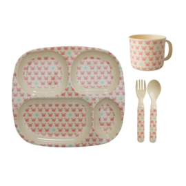 Rice Melamine Baby Dinner Set in Gift Box - Crab and Starfish Print - 4 pcs.