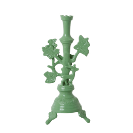 Rice Large Metal Candle Holder with Deer - Dusty Green