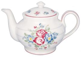 GreenGate Teapot Round Henrietta white -stoneware-