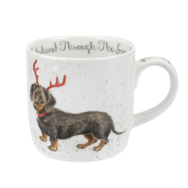 Wrendale Designs Dashshund Trough the Snow Christmas Mug