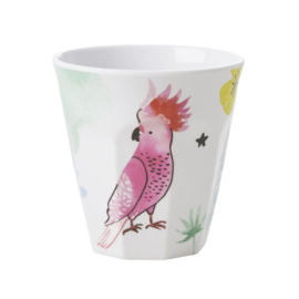 Rice Medium Melamine Cup - White - Cockatoo Print