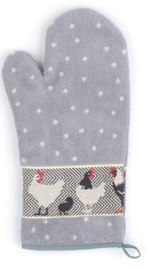 Bunzlau Oven Glove Chickens Grey