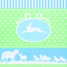IHR Lunch Napkins Easter Border Green