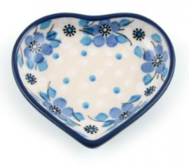 Bunzlau Heart Shape Teabag Dish Blue White Love