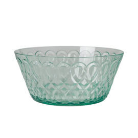 Rice Acrylic Bowl with Swirly Embossed Detail - Pastel Green - Large