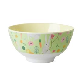 Rice Medium Melamine Bowl - Green Easter Print