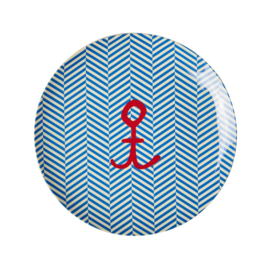 Rice Kids Melamine Lunch Plate with Sailor Stripe and Anchor Print