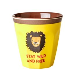 Rice Medium Melamine Cup with Yellow Lion Print