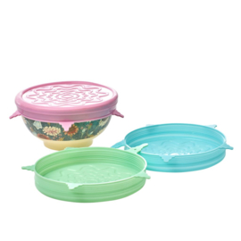 Rice Silicone Lid for Medium Melamine Bowl in 3 Assorted Colors