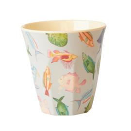 Rice Medium Melamine Cup with Fish Print
