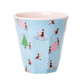 Rice Medium Melamine Cup - Xmas Elf Print