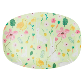 Rice Melamine Rectangular Plate - Green Easter Print