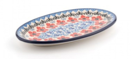Bunzlau Oval Cookie Dish Red Violets