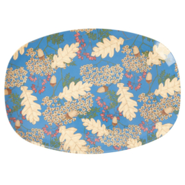 Rice Melamine Rectangular Plate - Autumn and Acorns Print