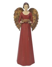 Meander Engel Antique met schaaltje rood -kandelaar-