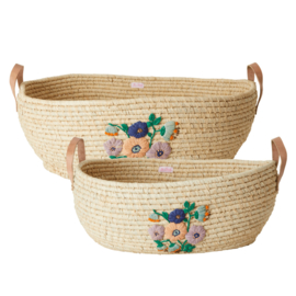 Rice Raffia Big Oval Basket with Embroidered Flowers and Leather Handles - Natural