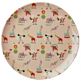 Rice Kids Melamine Lunch Plate with Girl Circus Print