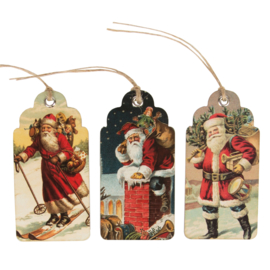 Sass & Belle Gift Tags Retro Vintage Father Christmas Scene -Set of 15-