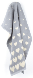 Bunzlau Kitchen Towel Hearts Grey