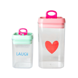 Rice Plastic Food Boxes with 'LAUGH' - Set of 2 - Airtight Lid