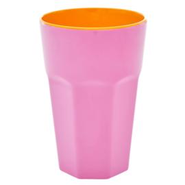 Rice Tall Melamine Cup - Pink & Orange