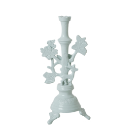 Rice Large Metal Candle Holder with Deer - Dusty Blue