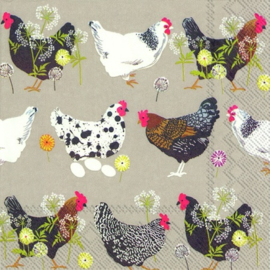 IHR Lunch Napkins Spatter Hens Linen