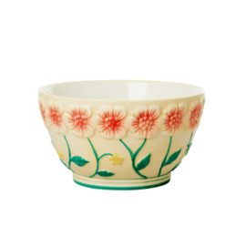 Rice Ceramic Bowl with Embossed Flower Design - Creme