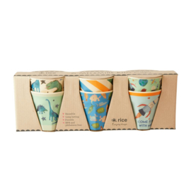 Rice Small Melamine Cup - Two Tone - Assorted Dino Prints - 6 pcs.
