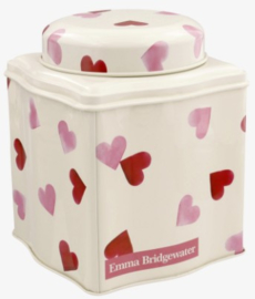 Emma Bridgewater Pink Hearts Dome Lid Curved Tin Caddy