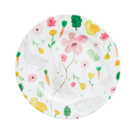 Rice Melamine Side Plate with White Easter Print -bord met rand-