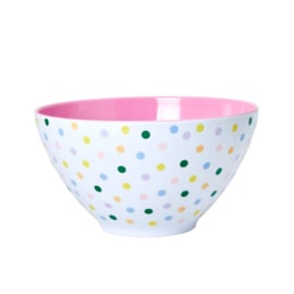 Rice Melamine Salad Bowl with 'Let's Summer' Dots