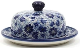 Bunzlau Butter Dish with Plate Round Dragonfly