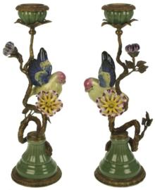 Meander Kandelaar met Kleurige Vogel en Bloemen -messing & porselein-