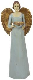 Meander Engel Antique met schaaltje blauw -kandelaar-