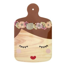 Rice Melamine Cutting Board with Sweet Face and Brown Hair