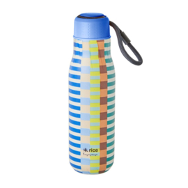 Rice Isolating Drinking Bottle with Blue and Green Summer Stripe print - RVS