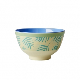 Rice Small Melamine Bowl Two Tone with Palm Leave Print