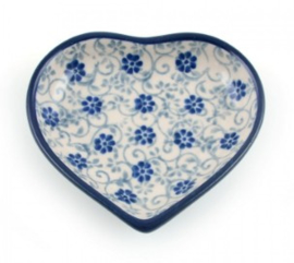 Bunzlau Heart Shape Teabag Dish Flower Fountain