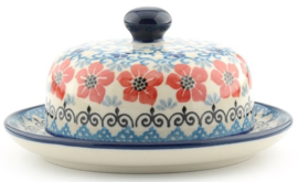 Bunzlau Butter Dish with Plate Round Ø 15 cm Red Violets