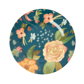 Rice Melamine Side Plate with Selma's Fall Flower Print -bord met rand-