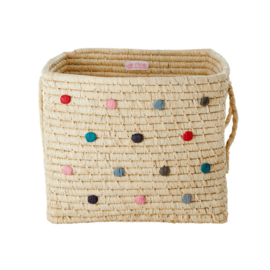 Rice Raffia Square Basket with Hand Embroidered Dots 'Believe in Red Lipstick'- Natural