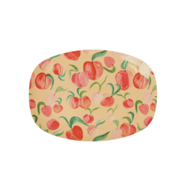 Rice Small Melamine Rectangular Plate - Peach Print -